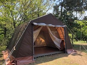 """手ぶらでキャンプに""""新""""常設テント登場です!"""