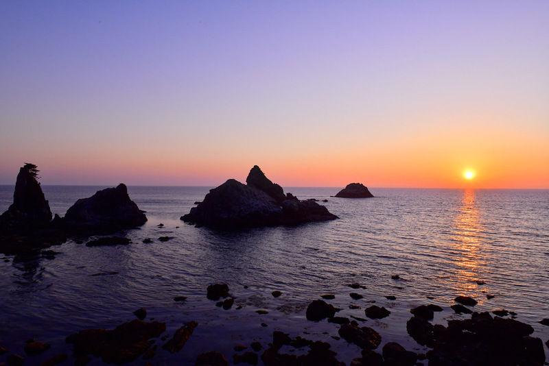 笹川流れで見る夕日