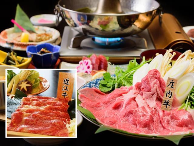 [[GoTo トラベルキャンペーン割引対象] お肉好きの皆様へ!欲張り料理企画  お肉お肉ハッピー御膳] 滋賀県の「近江牛80g」と山形県庄内の「庄内牛80g」をしゃぶしゃぶでどうぞ。写真はイメージです