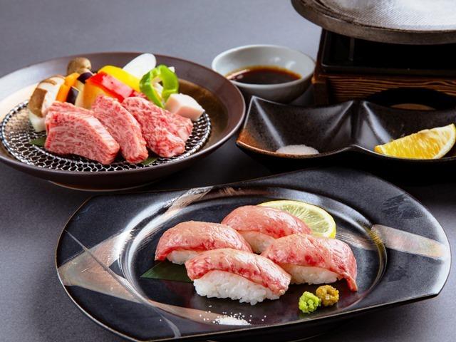 [千葉県産ブランド牛「かずさ和牛」食べ比べプラン(房総食彩ビュッフェと炙り寿司&鉄板焼き)] 夕食ビュッフェにプラスして、かずさ和牛の鉄板焼きと炙り寿司の二品をご用意いたします。