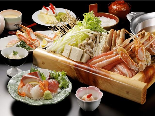 [【早割30】30日以上前の予約だとお得!「~蟹しゃぶ会席コース~」 出汁にくぐらせたプリプリの蟹をお楽しみ下さい。] かにしゃぶコース(鍋材料は2名様盛りです)