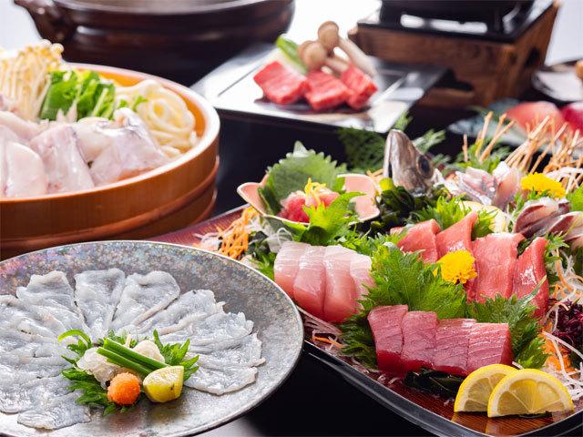 [[GoToトラベルキャンペーン割引対象]冬のグルメプラン12月から1月は旬を迎えるまぐろとふぐの旬彩料理] 冬の味覚料理 まぐろとふぐの旬彩料理