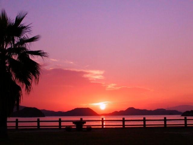 [シンプルにのんびりと【ウサギ島】で滞在プラン(5泊)] 宿舎からご覧いただける瀬戸内海の夕日