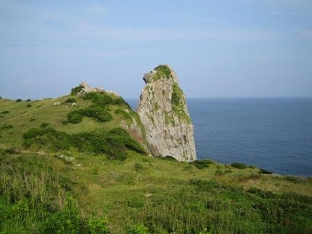 [古代海の王都壱岐の歴史にふれる島めぐり 春の長崎壱岐ぶらり旅] お猿の顔にそっくりな奇岩「猿岩」